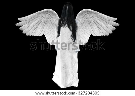 Angel of death with Halloween characters isolated on black background with clipping path