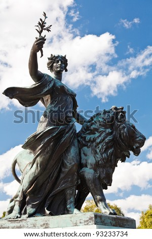 Angel of Justice - one of Victoria Memorial statues, London, UK