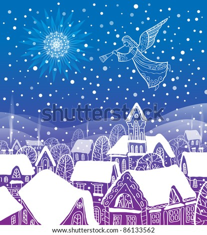 Angel of the city at Christmas - stock photo