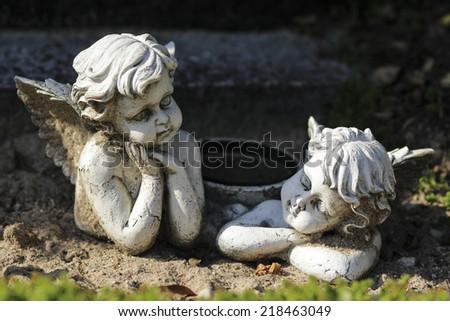 angel on cemetery - stock photo