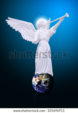 Angel on globe and trumpet : Elements of this image furnished by NASA - stock photo