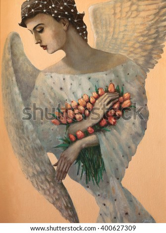 angel, original oil painting on canvas - stock photo