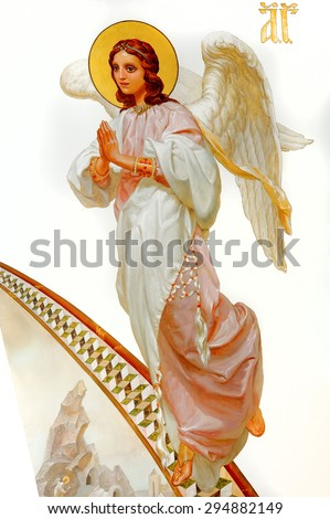 angel painting in the church - stock photo
