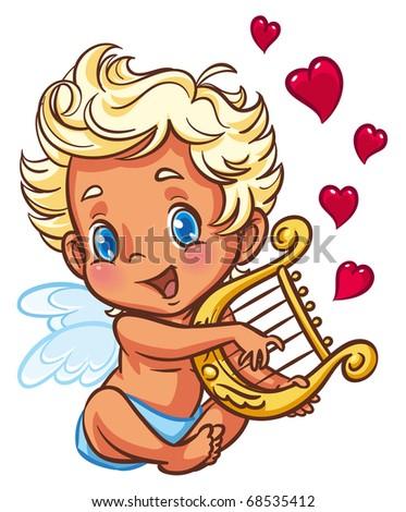 Angel playing his harp - stock photo