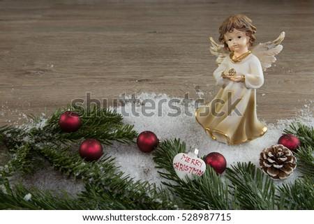 angel red balls snow and fir green - Christmas Tree Angel