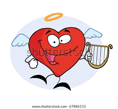 Angel Red Heart Character Flying With A Lyre