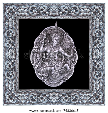Angel silver and silver frame handmade in a Thai temple. - stock photo
