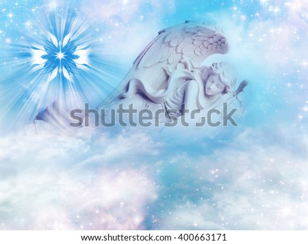 angel sleeping in mystical sky - stock photo