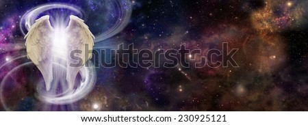 Angel Spirit in Deep Space - colorful deep space background with Angel Wings on left side a swish of white light making an 's' shape and bright light bursting through the wings depicting Spirit Energy - stock photo