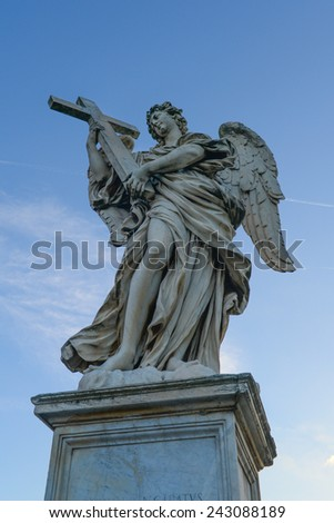 Angel Statue in Rome - stock photo