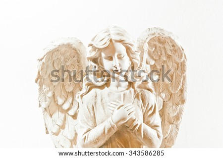 angel statue isolated - stock photo