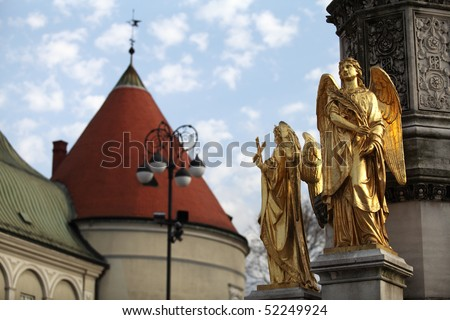 Angel statues at Zagreb cathedral, Croatia - stock photo