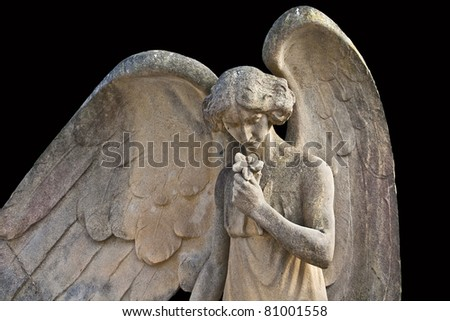 Angel stone in the cemetery gothic Lloret de Mar, Catalonia, Spain - stock photo