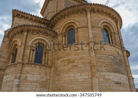 angel view of windows of a Romanesque church in Palencia