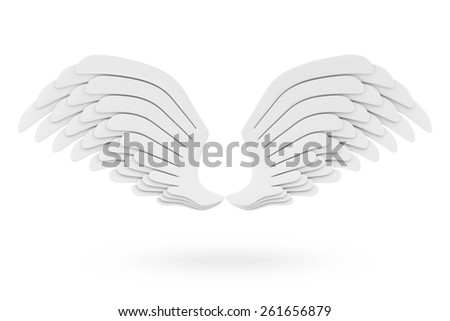 Angel White Wings isolated on white background - stock photo