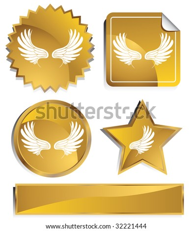 angel wing set gold