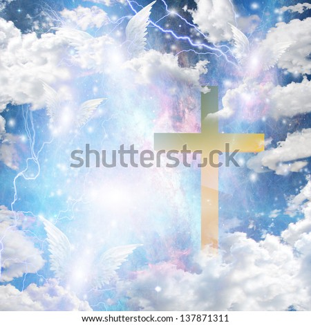 Angel winged hover around cross - stock photo