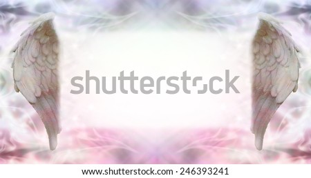 Angel Wings Message Board - wide ethereal energy background flanked by two Angel wings with a large misty white message board area in the middle - stock photo