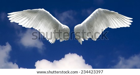 Angel Wings Background Made Sky Clouds Stock Photo