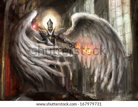 angel with burning sword in catedral - stock photo