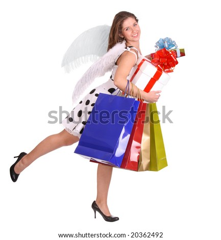 Angel with gift bag and box.