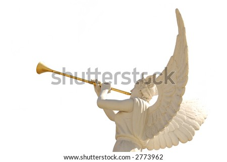 Angel with golden trumpet-isolated - stock photo
