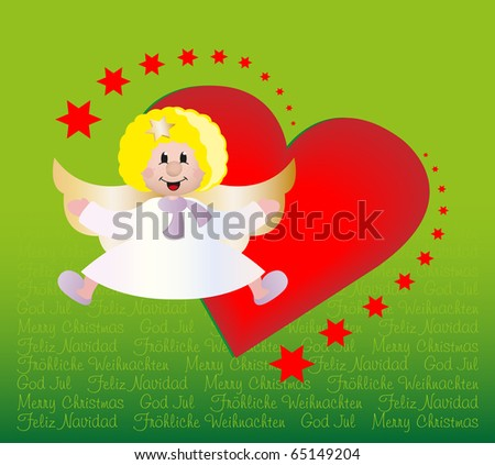 Little cupid holding heart stock illustration 555161185 for Green in different languages