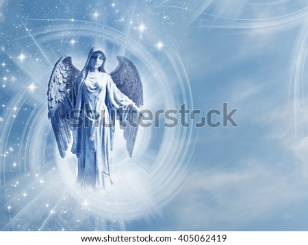angel with mystical blue background and copy space - stock photo
