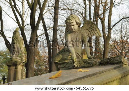angel with rose sitting on tomb, historic cemetery in Krakow , Poland - stock photo