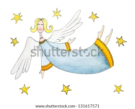 Angel with stars, child's drawing, watercolor painting on paper - stock photo