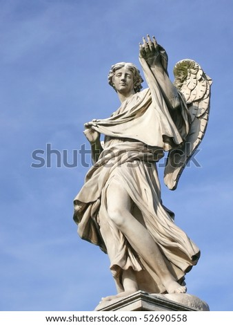 Angel with sudarium. Michaelangelo bridge. Rome. Italy. More of this motif & more angels/rome in my port. - stock photo
