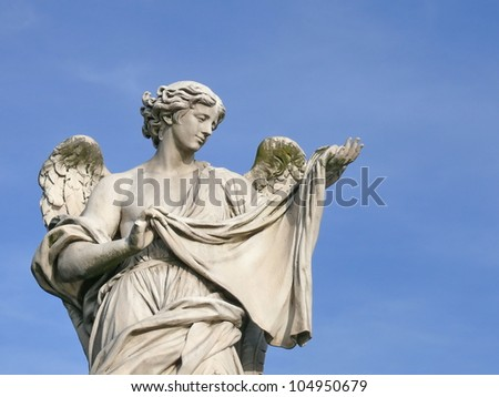 Angel with sudarium. Michaelangelo bridge. Rome. Italy. More of this motif & more Rome and sculptures in my port. - stock photo