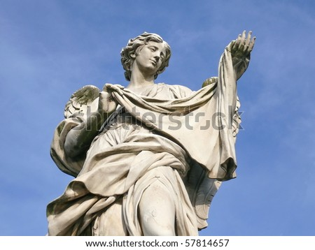 Angel with sudarium. Michaelangelo bridge. Rome. Italy. More of this motif & more Rome in my port - stock photo