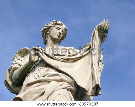 Angel with sudarium. Michaelangelo bridge. Rome. Italy. More of this motif & more Rome in my port - stock photo
