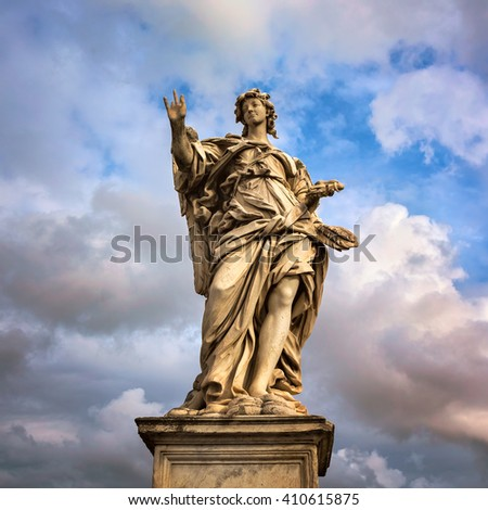 Angel with the Nails on Aelian Bridge in Rome, Italy - stock photo