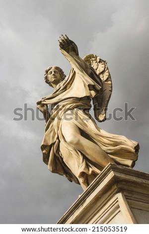 Angel with the Sudarium (Veronicas Veil)  on the bridge of Castel Sant'Angelo, Rome Italy - stock photo
