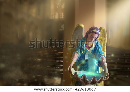 angel with wings statue the The church  - stock photo