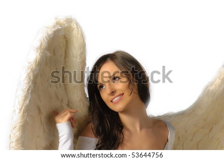 Angel woman looking up and smiling isolated on white