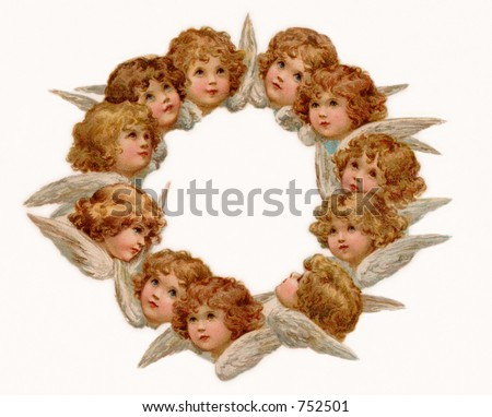 Angel Wreath - an early 1900's vintage greeting card illustration.