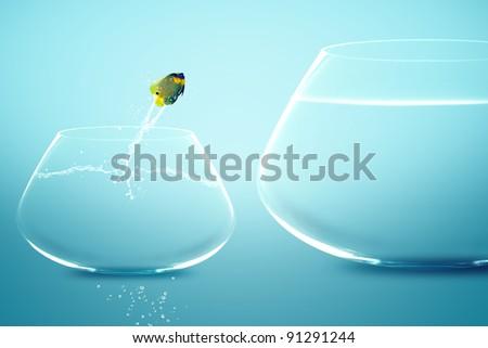 Angelfish jumping into bigger fishbowl. - stock photo
