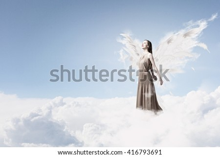 Blessed Virgin Mary Sky Background Mother Stock Photo