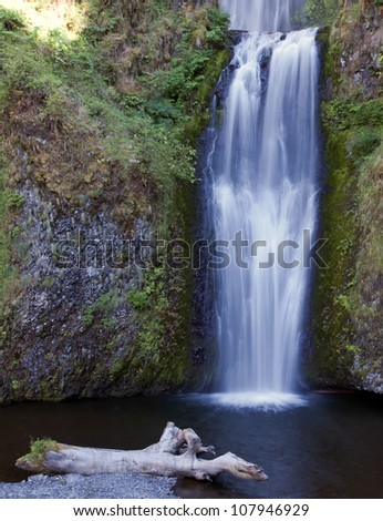Angelic Lower Waterfall of the Multnamoh in the Columbia River Gorge - stock photo