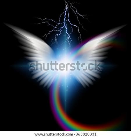 Angelic wings with lighting - stock photo