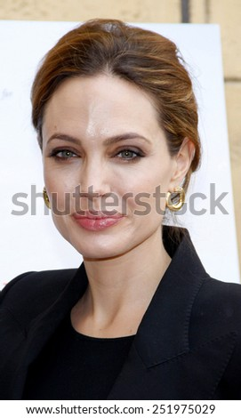 Angelina Jolie at the American Cinematheque's 69th Annual Golden Globe Awards Foreign-Language Nominee Event held at the Egyptian Theater in Los Angeles, California on January 14, 2012.  - stock photo