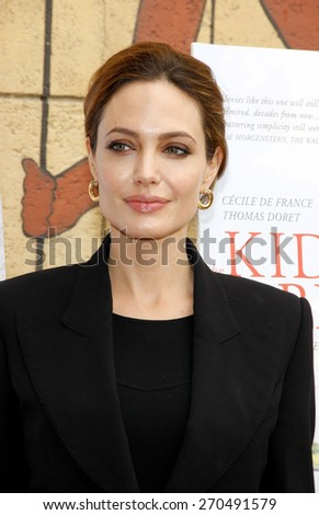 Angelina Jolie at the American Cinematheque's 69th Annual Golden Globe Awards Foreign-Language Nominee Event held at the Egyptian Theater on January 15, 2012.  - stock photo