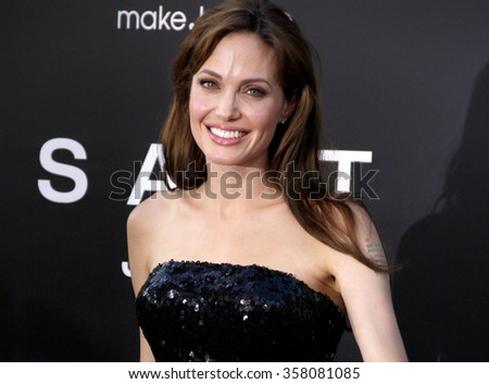 """Angelina Jolie at the Los Angeles Premiere of """"Salt"""" held at the Grauman's Chinese Theater in Los Angeles, California, United States on July 19, 2010.  - stock photo"""