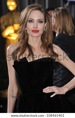 Angelina Jolie at the 84th Annual Academy Awards at the Hollywood & Highland Theatre, Hollywood. February 26, 2012  Los Angeles, CA Picture: Paul Smith / Featureflash - stock photo