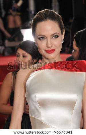 Angelina Jolie at the 69th Golden Globe Awards at the Beverly Hilton Hotel. January 15, 2012  Beverly Hills, CA Picture: Paul Smith / Featureflash - stock photo