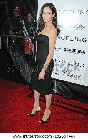 Angelina Jolie, in a Versace dress and Sergio Rossi shoes, at THE CHANGELING Premiere at the New York Film Festival, The Ziegfeld Theatre, New York, October 04, 2008 - stock photo
