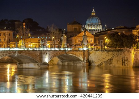 Angelo Bridge and St. Peter's Basilica in the twilight, Rome, Italy